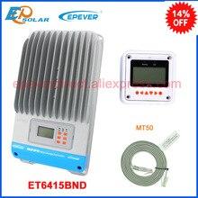 Epsolar mppt 12v 24v 36v 48v controlador do painel solar do trabalho automático et6415bnd com mt50 medidor remoto para o monitor em tempo real 60a 60amp