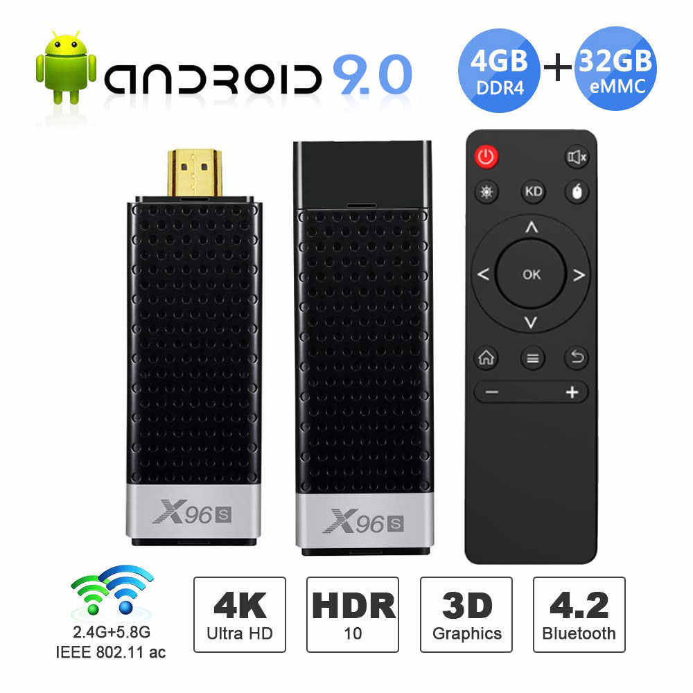 Mini PC X96S TV Box Android 9.0 TV Stick DDR4 4GB 32GB Amlogic S905Y2 2.4/5G double WIFI BT4.2 4K HD Smart TV Box PK H96 X96 MAX