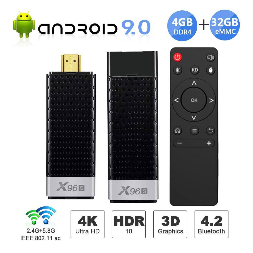 Mini PC X96S TV Box Android 9.0 TV Stick DDR4 4GB 32GB Amlogic S905Y2 2.4/5G double WIFI BT4.2 4K HD Smart TV Box PK H96 X96 MAX