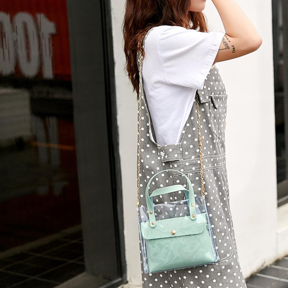 Fashion Women Shoulder Bag Transparent PVC Chain Hand Bags Handbag Jelly Pack Messenger Crossbody Clear Cute Girl Bag Handbags
