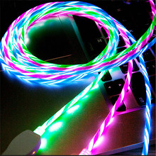 Micro USB Cable Flowing LED Glow Charging USB Charger for iPhone 7 Samsung Galaxy Note 8 9 Android Mobile Phone Charge Wire Cord все цены
