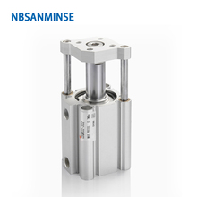 NBSANMINSE CDQMB 32mm Bore Guide Rod Type Compressed Air Cylinder SMC Type ISO Compact Cylinder Double Acting nbsanminse mgpl bore 25mm smc type iso miniature guide rod double acting pneumatic compact guide cylinder