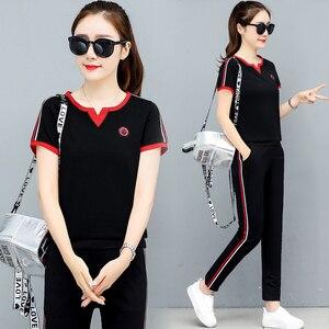 Женский спортивный костюм YICIYA, черный комплект из двух предметов, спортивная одежда, топ и штаны размера плюс, для лета, 2020