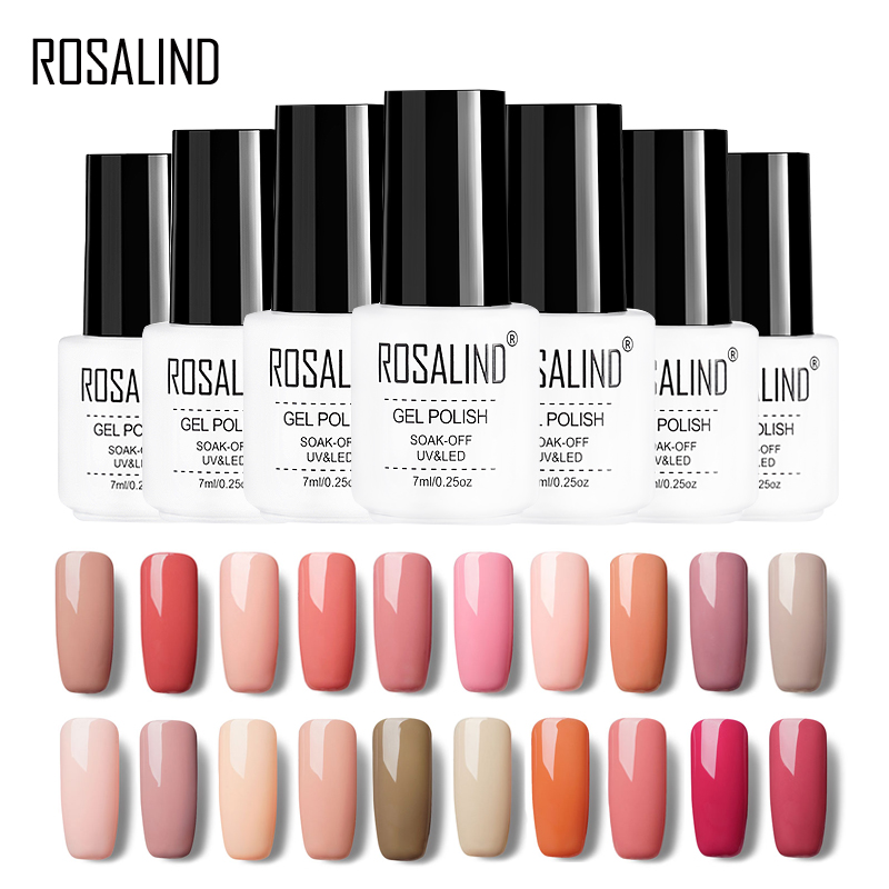 ROSALIND Gel 1S 7ML Nude Color Series Gel Nail Polish For Nail Extensions Design Of Nail Tops Primer UV Gel Varnish Nail Art