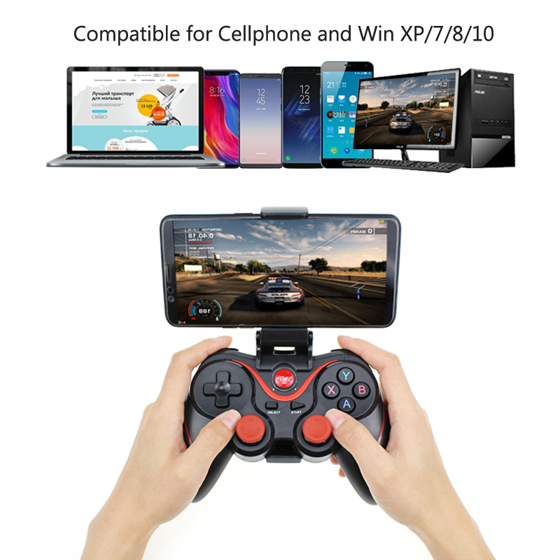 Wireless Joystick Bluetooth 2.0 Gamepad Gaming Controller For PS3 Remote Control for Tablet PC Android Smartphone With Holder