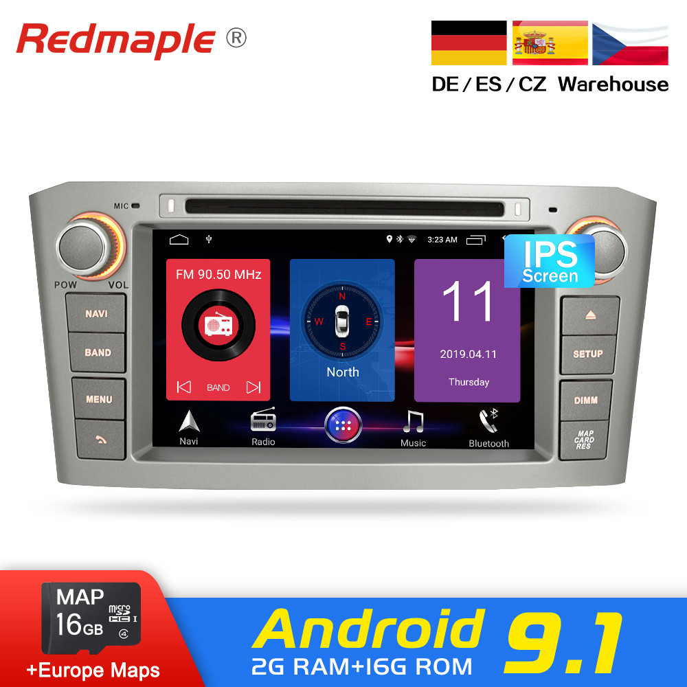 4G RAM Android 9.0 Car Radio GPS Multimedia Stereo DVD Player For Toyota Avensis T25 2003-2008 Auto Audio Navigation Headunit