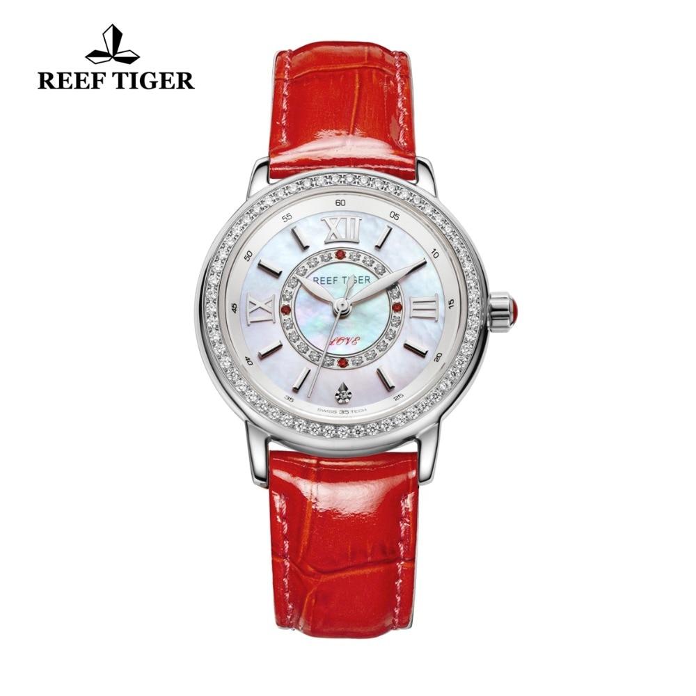 Reef Tiger RT Top Brand Luxury Women Watch Genuine Leather Strap Diamond Sheel Dial Ladies Watches