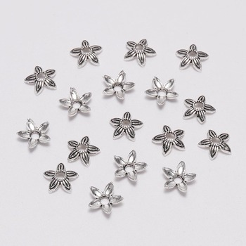 100pcs/Lot 8mm Five Pointed Star Antique  Flower Loose Sparer Apart End Bead Caps For DIY Jewelry Making Findings Earrings