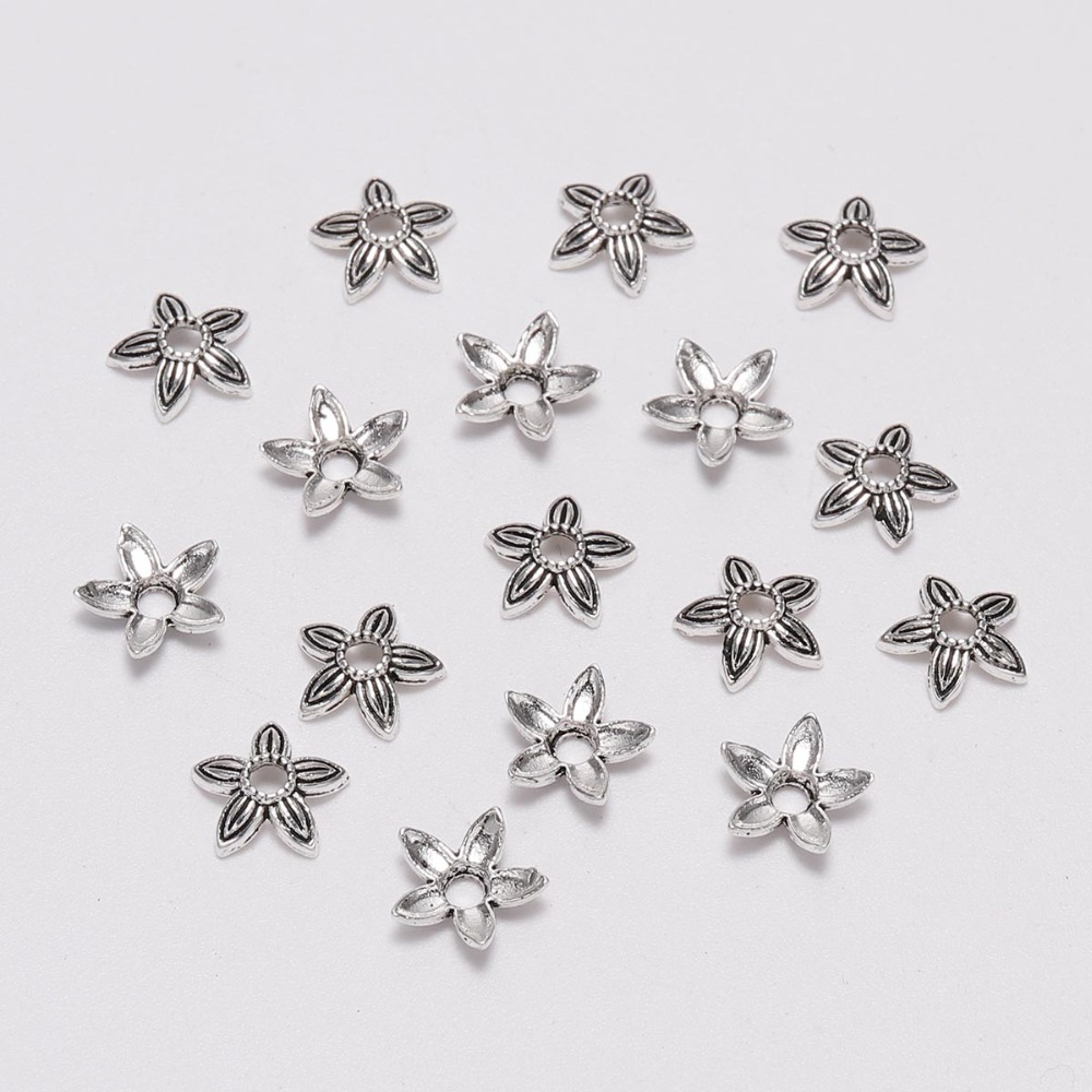 100pcs/Lot 8mm Five Pointed Star Antique Silver Flower Loose Sparer Apart End Bead Caps For DIY Jewelry Making Findings Earrings