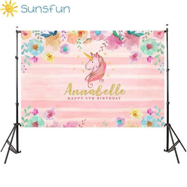 Ideal Sunsfun 7x5ft Pink Unicorn Photography Backdrop Birthday Flower  JK64