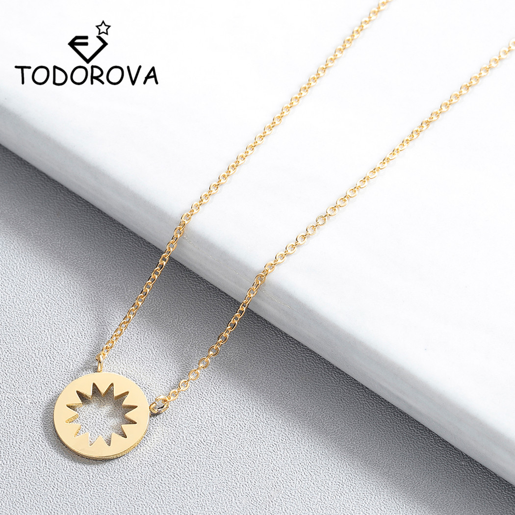 Todorova New Fashion Geometric Round Circle Starburst Pendant Necklace Minimalism Women Accessories Jewelry Short Chain