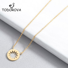 Todorova New Fashion Geometric Round Circle Starburst Pendant Necklace Minimalism Women Accessories Jewelry Short Chain Necklace todorova clear cz cubic zircon double round circle forever pendant necklace for women simple geometric necklace jewelry gift