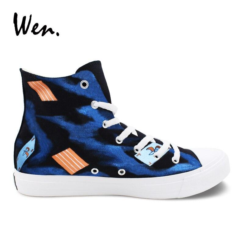 Wen Hand Painted Sneakers Women Men Black Canvas Flat Design Joker Poker Graffiti Shoes High Top Athletic Sport Plimsolls