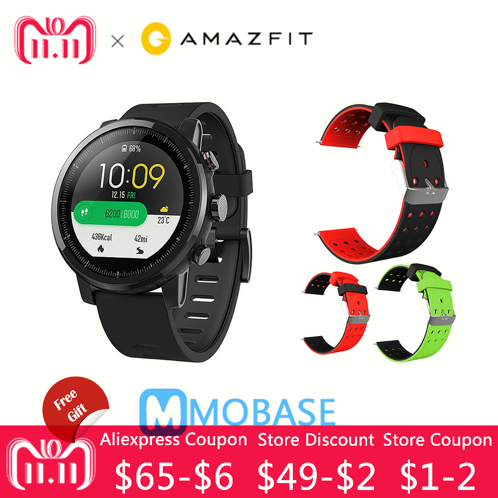 Amazfit Stratos Montre Smart Watch 2 GPS 5ATM D'eau 1.34 ''2.5D Écran GPS Sport montre Firstbeat De Natation Smartwatch Anglais Version