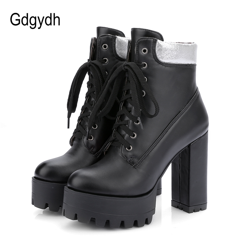 Gdgydh Rubber Boots Women Platform Shoes 2018 New Spring White Red Lace Up Solid Ankle Boots for Women Round Toe Big Size 43 new spring women casual platform shoes lace up round toe black pink white casual shoes women comfortble ladies shoes size 33 43