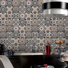 Europe style Creative tile sticker Retro living room bedroom wallpaper Kitchen oilproof Bathroom waterproof PVC