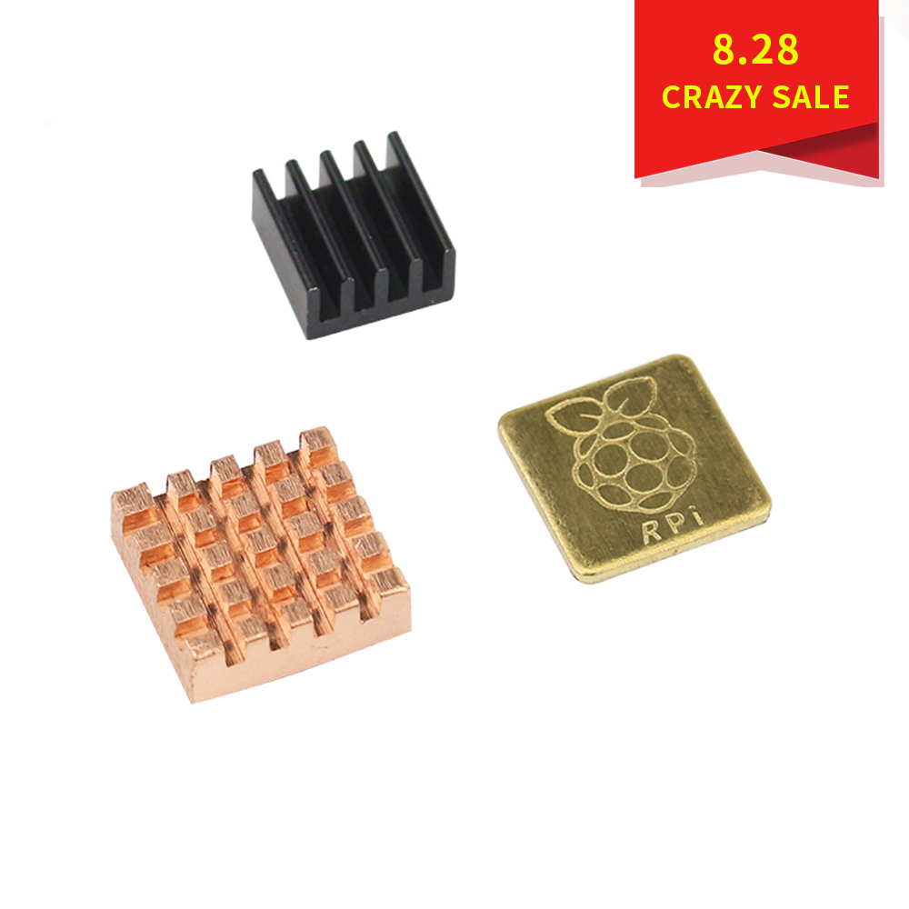 Raspberry Pi 3 Model B + Plus Heat Sink 1 Aluminum + 2 Copper With Logo Cooling Pad Disipador Heatsink For Raspberry Pi 3 B+/3