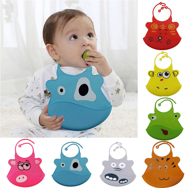 New Random Pattern Cartoon Waterproof Silicone Bib Feeding Stereo Pick Rice Pocket Baby Saliva Towel Newborn Aprons High Quality
