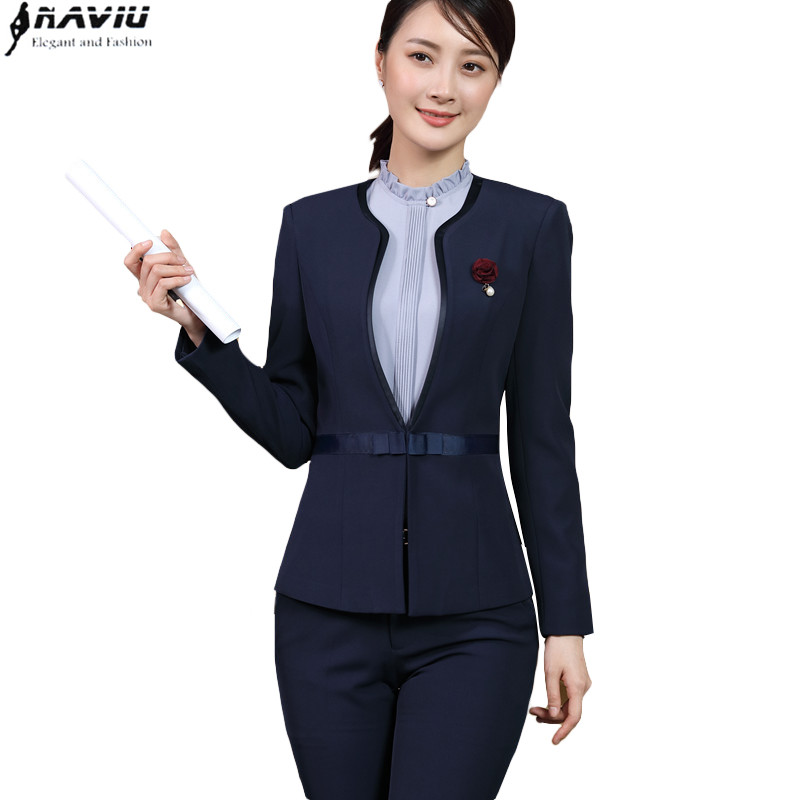 Business Women Pants suit Navy blue formal long sleeve slim Interview blazer and trousers set office ladies plus size work wear formal wear