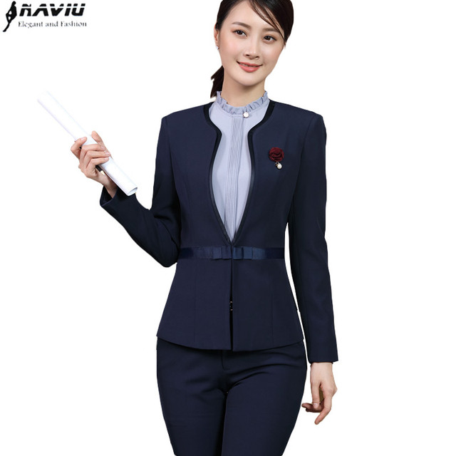4f2b43049dd27 Business Women Pants suit Navy blue formal long sleeve slim Interview  blazer and trousers set office ladies plus size work wear