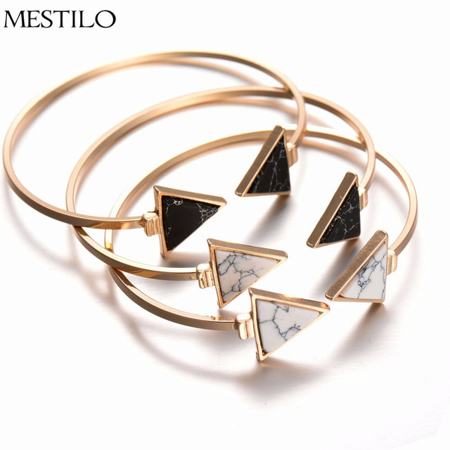 MESTILO Fashion Gold Plate Black White Geometric Triangle Open Cuff Punk Bracelet Bangle Faux Marble Stone pulseras from India