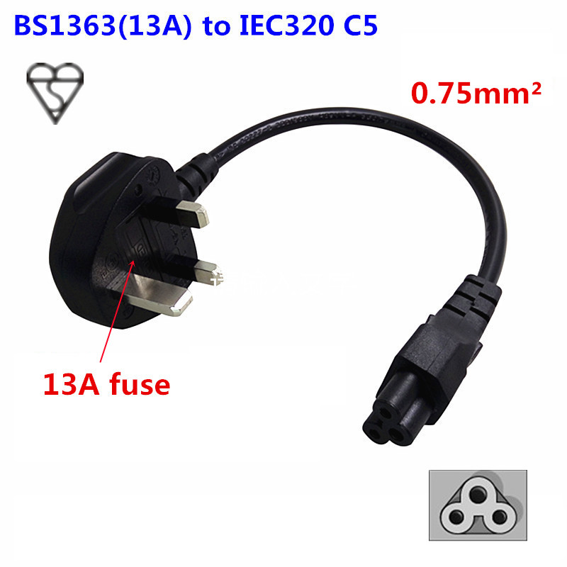 UK 3pin Plug BS1363 13A To IEC 320 C5 Mickey Mouse <font><b>3</b></font> holes Laptop Portable <font><b>Power</b></font> Cord Short <font><b>Cable</b></font> 20cm for Hongkong digital image