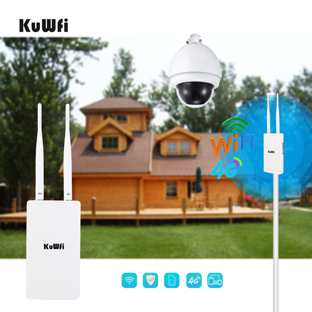 KuWFi Waterproof Outdoor 4G CPE Router 150Mbps CAT4 LTE Routers 3G/4G SIM Card WiFi Router for IP Camera/Outside WiFi Coverage 2