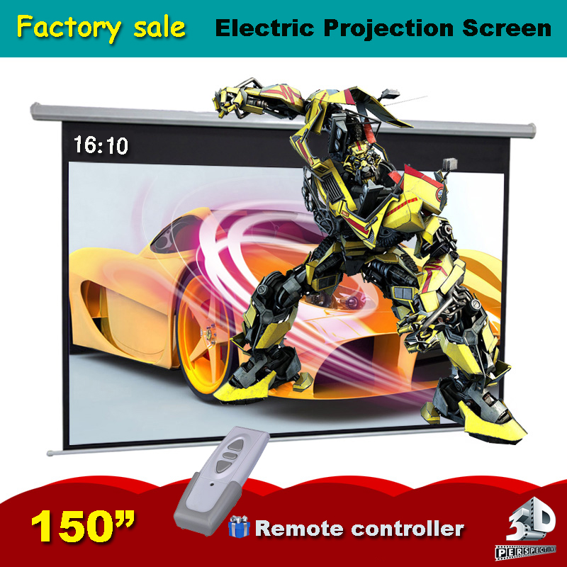 150 inches 16:10 Electric Projector Screen Motorized Pantalla Proyeccion 3D Proyector Projection Remote Controller as gift 72 inches and the authenticity of the tripod white plastic screen projector projector screen