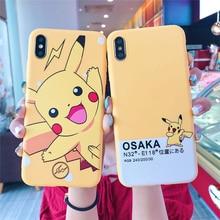 QIKEFANG Cartoon Cute Pokemon Pika Cases Cover For iPhone X XR XS Max 6 s 7 8 Plus Yellow Pikachu type digital Soft TPU Case