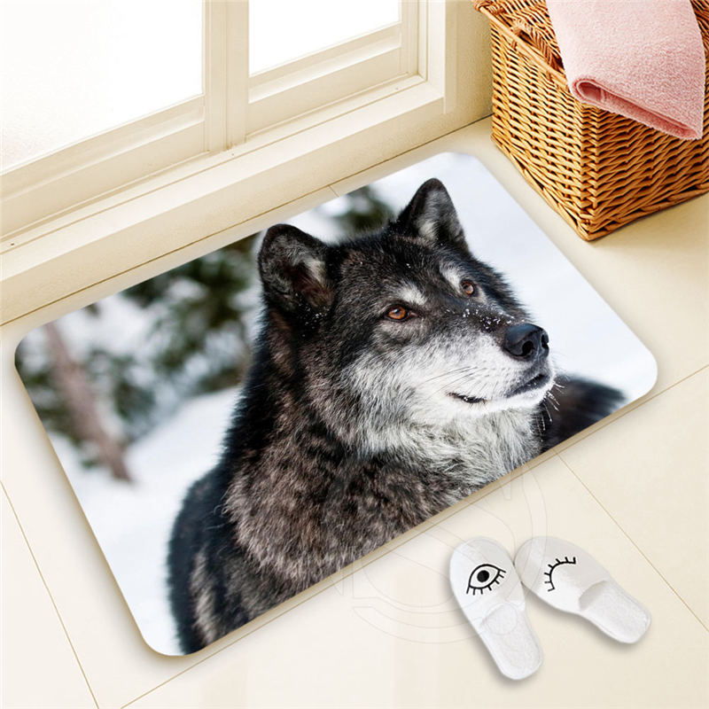 H-P737 Custom WOLF Doormat Home Decor 100% Polyester Pattern Door mat Floor Mat foot pad SQ00722-@H0737