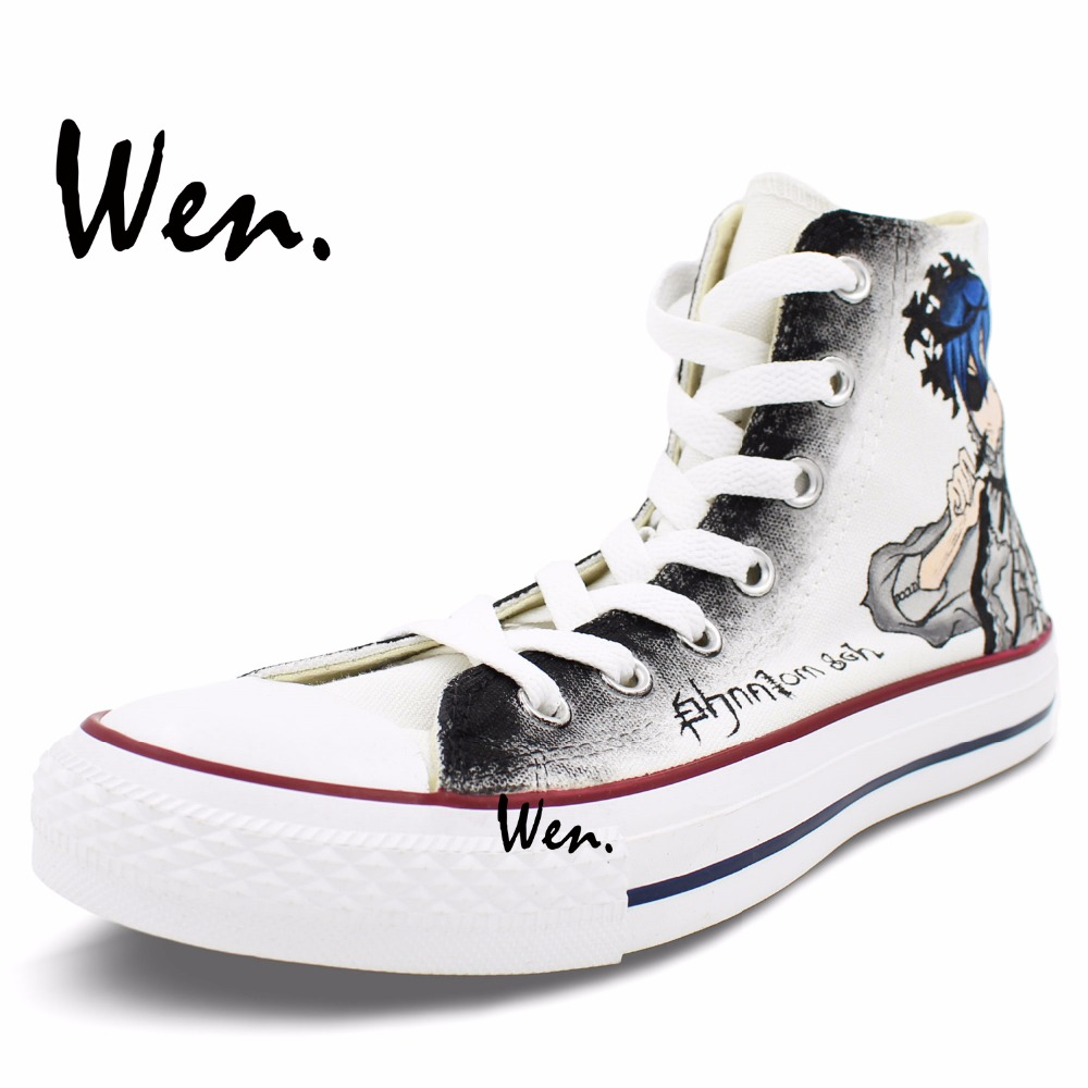 Wen Anime Unisex Hand Painted Shoes Custom Design Black Butler Sebastian  Michaelis Men Women s High Top Canvas Casual Shoes-in Men s Vulcanize Shoes  from ... 79502a13b52d