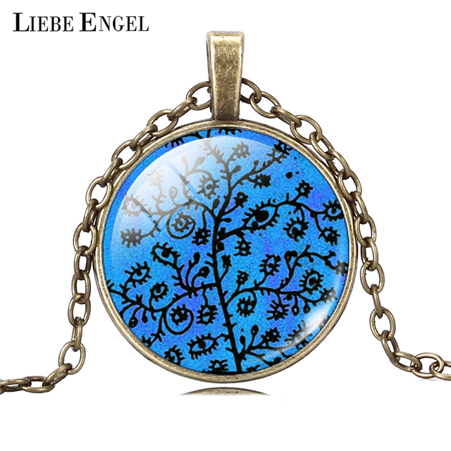 Life Tree Pendant Necklace Art Glass Cabochon 1
