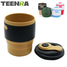 TEENRA 1Pcs Silicone Collapsible Coffee Cup Resuable Travel Coffee Cup For Camping Leak Proof Fold Water Cup