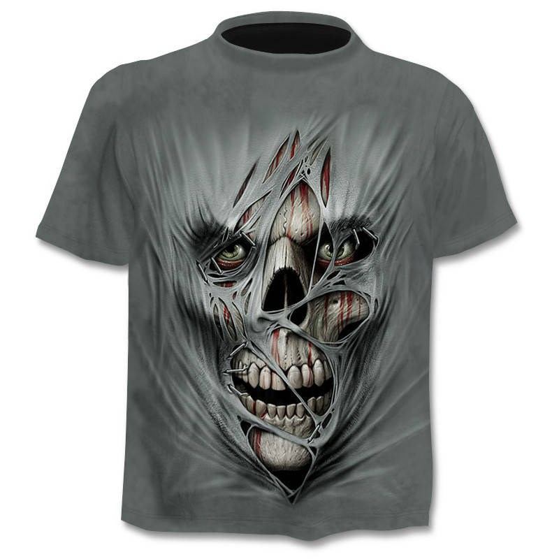 Drop Ship Summer NewFunny skull 3d T Shirt Summer Hipster Short Sleeve Tee Tops Men/Women Anime T-Shirts Homme Short sleeve tops 12