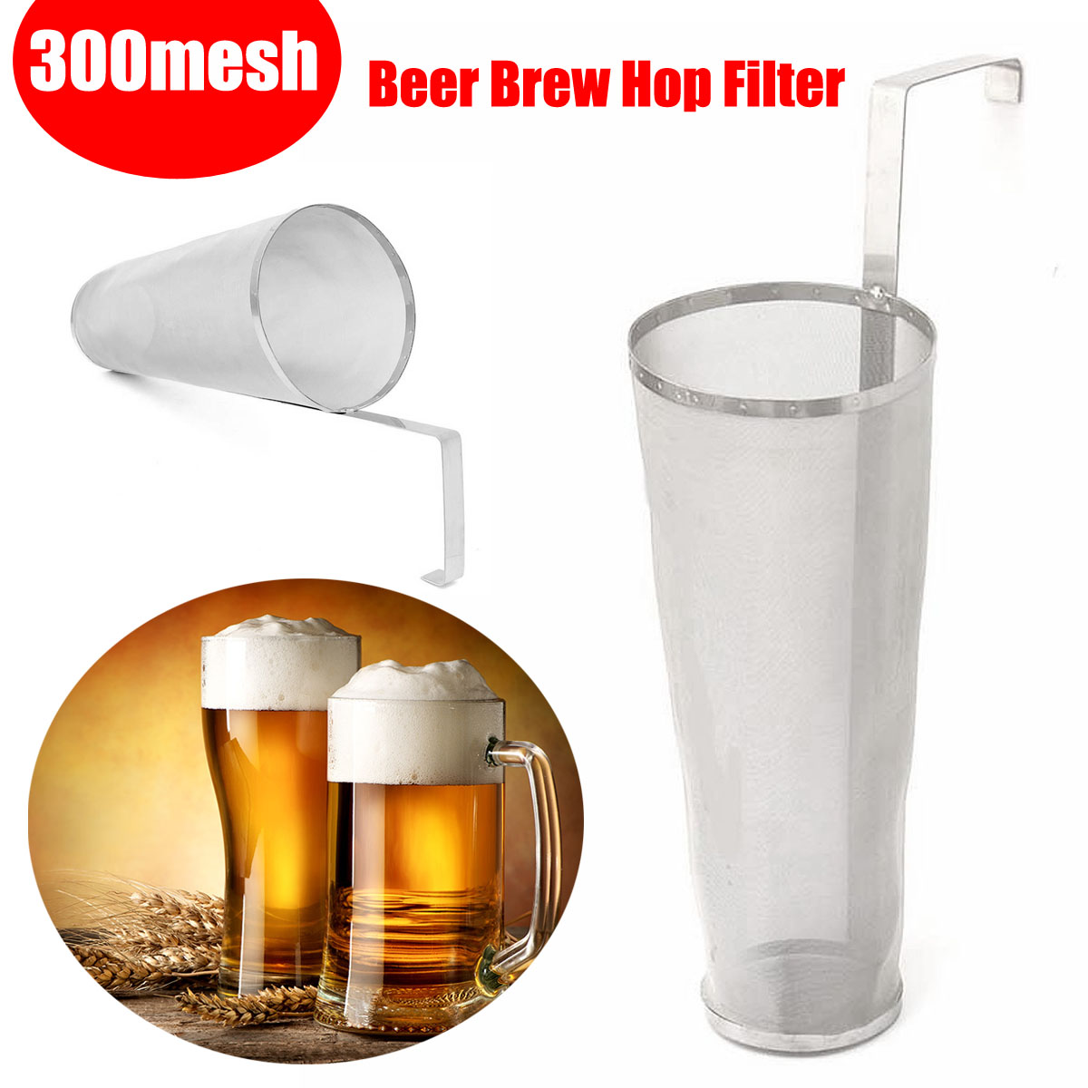 300 Micron Stainless Steel Homemade Brew Beer Hop Mesh Filter Strainer With Hook 35x10cm