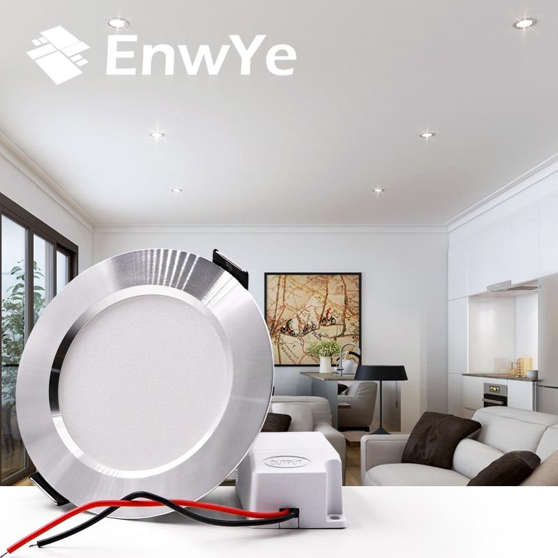 EnwYe 4PCS LED Downlight Ceiling silvery IC LED driver 9W 12W 15W Warm white/cold white led light AC 110V 220V 12w 3500k 1050 lumen 12 led warm white light ceiling down lamp ac 100 245v