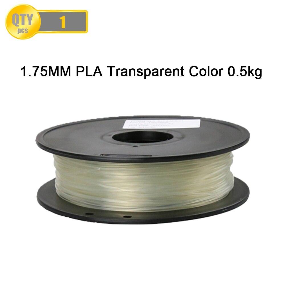 Transparent Color 3D Printer Filaments PLA 1.75mm/0.5kg Plastic Rod Ribbon Consumables Material Refills For MakerBot/RepRap/UP yellow color pla 1 75mm 1kg spool 3d printer filaments for makerbot reprap up golden