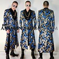 S-5XL ! 2017 Men's New clothing singer fashion GD Blue gold Totem embroidery long jacket plus size Open fork coat stage costumes