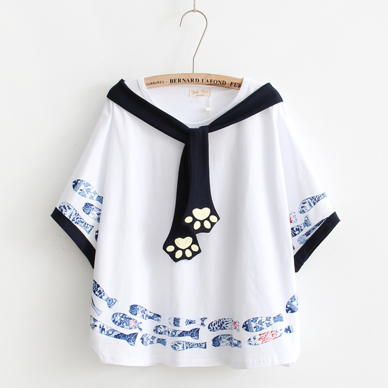White Beige Kawaii Harajuku Fish Cat Paw Top Women Loose Cloak Tees Large Size All-match Summer T-shirt For Sweat Girls