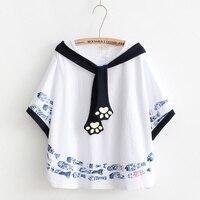 Wit Beige Kawaii Harajuku Vis Kitty Poot Top Vrouwen Losse Mantel Tees Grote Maat Match Zomer T-shirt Voor Zweet Meisjes
