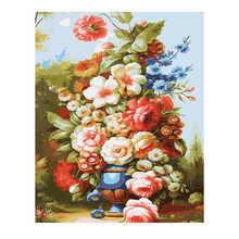 RIHE Blooming Flower DIY Painting By Numbers Vase Paint Kits Drawing With Brushes Wall Art Suitable For All Skill Levels 40x50cm