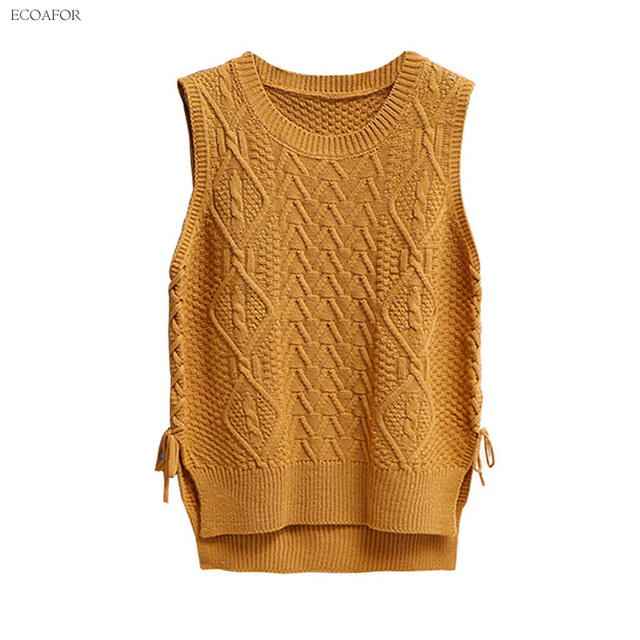 Side Lace Up Sweater Vest Women Pure O Neck Slit Split Bow