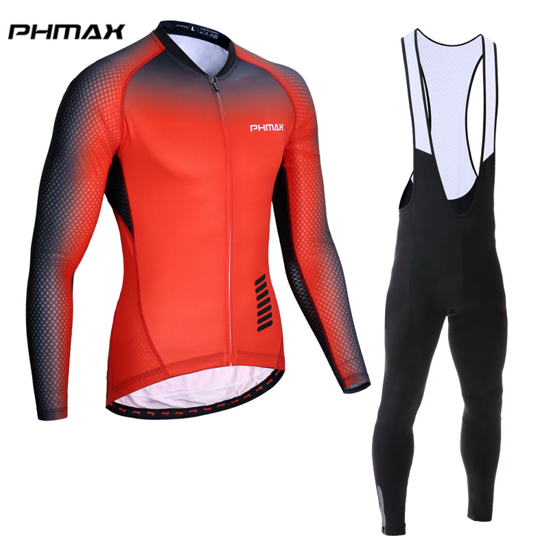 PHMAX 2018 Pro Cycling Set Long Sleeve Racing Bicycle Cycling Clothing Ropa Maillot Ciclismo Breathable MTB Bike Clothes Wear