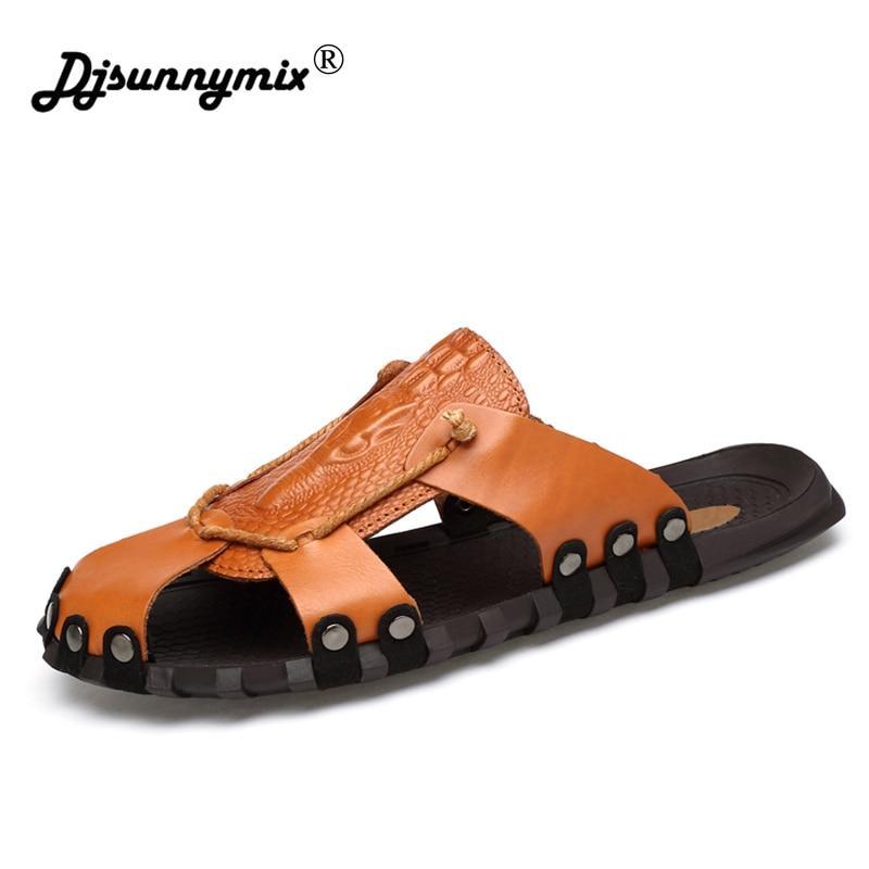 DJSUNNYMIX men genuine leather sandals summer Soft bottom outdoor beach sandals Big size 38-46