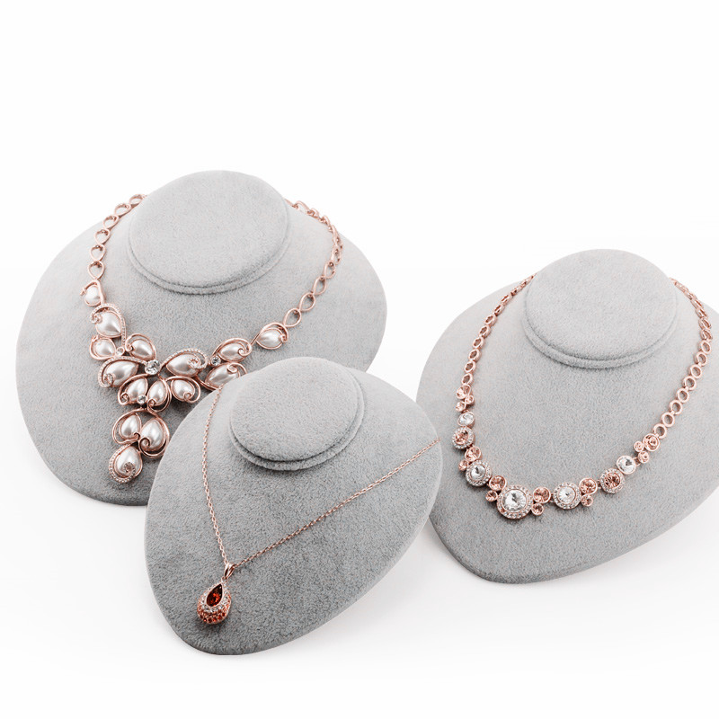 3 Size Gray Velvet Necklace Bust Necklace Holder Jewelry Display Holder Necklace Display Stand  Necklace Bust