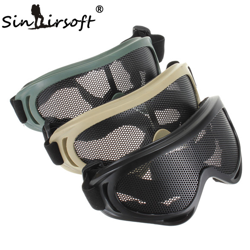 SINAIRSOFT Jakt Vandring Airsoft Net Tactical Shock Resistance Eyes Skydda Outdoor Sports Metal Mesh Glasses Goggle