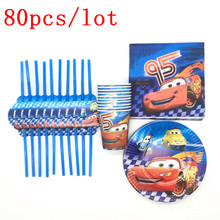 Disney Cars Theme Design 80Pcs/Lot Lightning McQueen Paper Tableware Child Birthday Party Decoration For Event & Party Supplies