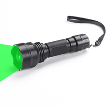 Black hunting tactical flashlight XP-E2 520-535nm retractable camping LED flash