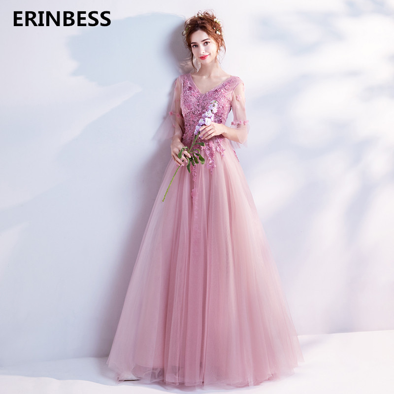 Robe De Soiree   Evening     Dresses   Long   Dress   2018 Tulle Prom Lace-Up Party Gown Sexy V-neck   Evening     Dress   A-lineVestido De Festa