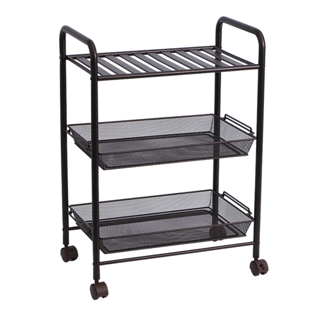 Home Kitchen Rack Floor 3 Layer Shelf Multi Function Cart Finishing With Wheels Removable Storage Wx8201720